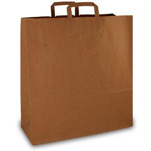 250 Papiertragetaschen Papiertaschen Tüten Papiertüten Tragetaschen braun 18 + 8 x 22 cm -
