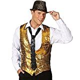 PARTY DISCOUNT NEU Herren-Weste Pailletten, gold, Gr. 56-58