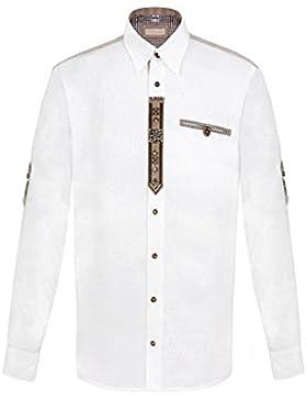 OS Trachten Moser Trachten Trachtenhemd Langarm Weiß-Natur mit Applikationen 112309, Material Baumwolle, Liegekragen