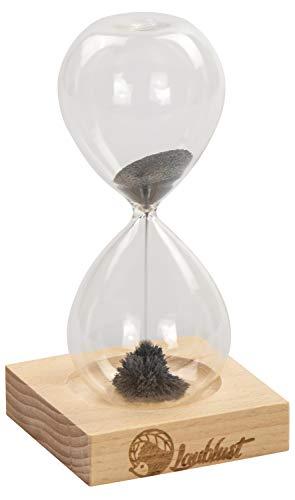 Sanduhr - 16x8x8cm, Natur, Laufzeit Ca. 1 Minute - Dekoratives Stundenglas Inkl. Holz-Sockel, Magneten und Magnet-Sand | Wohnzimmer Dekoration | Schreibtisch-Uhr | Geschenk-Idee ()