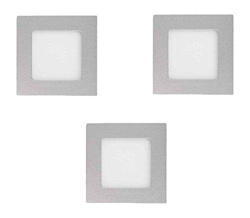 Els Banys kit de 3 empotrables LED extraplanos 3w, Gris, 8,5 x...