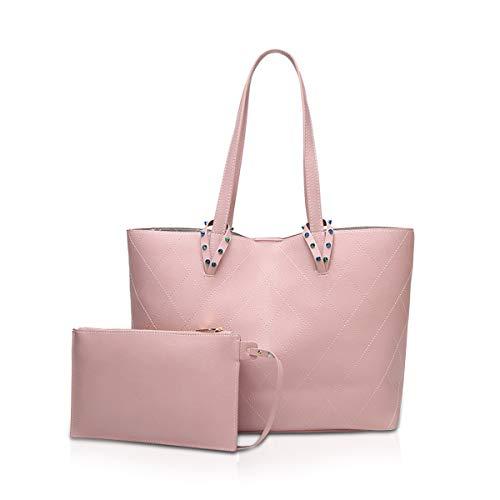 NICOLE & DORIS Damen Tote Tasche große Umhängetasche Stylische Handtaschen 2 Stück Set Geldbörse für Damen für die Arbeit, Einkaufen Rosa - Nicole 2 Stück