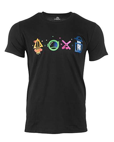 Official Playstation Intergalactic Shapes Black T-Shirt (UK S/US XS) (Playstation-t-shirt)