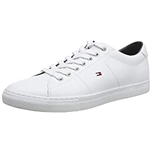 Tommy Hilfiger Men's Essential Leather Sneaker Low-Top, White (White 100), 10 UK (44 EU)