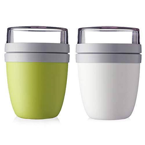 Mepal Lunchpot Ellipse 2-er Set Lunchbox Essensbehälter (Lime und weiß)