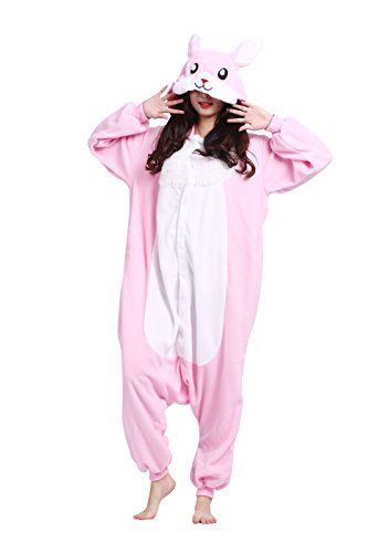 Magicmode Unisex Adulti Cute Cartoon Onesie Cosplay Pigiama Costumi Animali Felpa Kigurumi Pigiami Coniglio Rosa XL