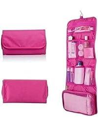 ORPIO (LABLE) Multi Functional Makeup Handbag Purse Organizer Women Cosmetic Travel Hanging Bags (Pink)