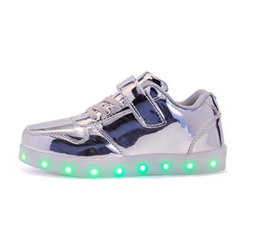 ZJEXJJ Kinder Jungen Mädchen USB Lade Low Top Sneakers Blinkende Schuhe Kleinkind Freizeitschuhe Weihnachten Halloween Trainer (Farbe : Silber, größe : 33) -