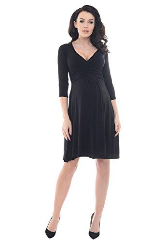 Purpless Maternity V-Ausschnitt 3/4 Arm Schwangerschaft Kleid D4400 (46, Black)