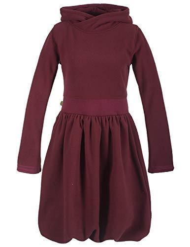 Vishes - Alternative Bekleidung - Warmes Langarm Ballonkleid aus recyceltem Fleece mit Kapuze dunkelrot 42