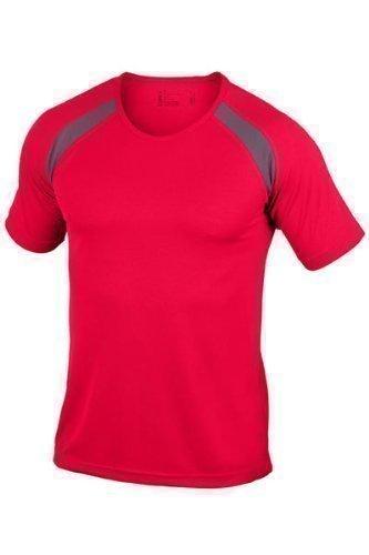 Hanes - Maglietta sportiva da uomo a contrasto senza logo rosso - rosso
