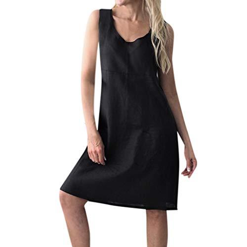 rkleider Knielanges Kleid,Elegant Leinen BlusenkleiderFestkleider Hemkleid,Einfarbig,Ärmellos Vintage 1950er S-XL ()