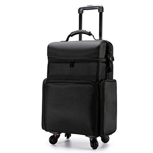 Mzl trolley travel cosmetic case nero multistrato a grande capacità roller beauty nail box tool impermeabile oxford cloth nylon (62 * 38 * 25cm)
