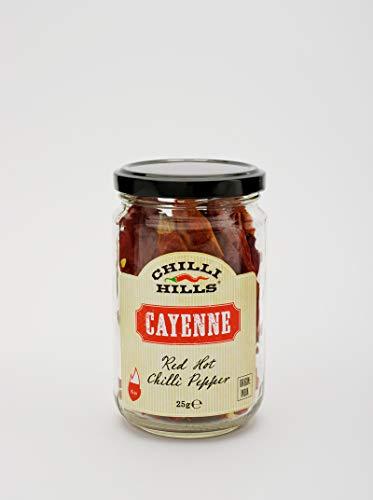 Chilli Hills CAYENNE - Getrocknete Chilischoten Die weltbesten und schärfsten Chilischoten, angebaut auf unserer Familienfarm und fachmännisch getrocknet, um das Aroma zu erhalten. 25 g im Glas