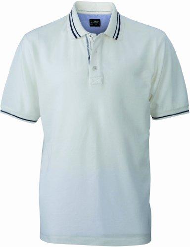 James & Nicholson Herren Poloshirt Poloshirt Men's Lifestyle weiß (off-white/navy) XX-Large