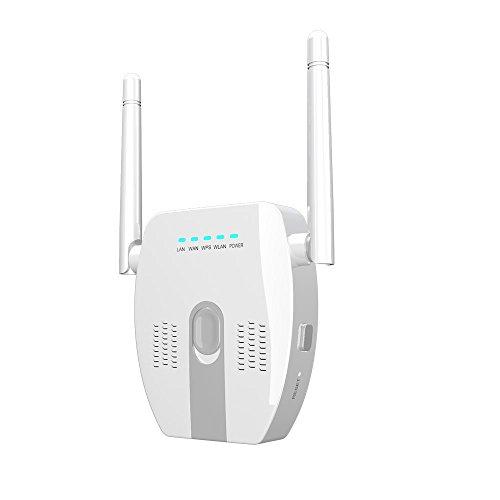 MMGN Extendeur Longue portée pour routeur WiFi 300Mbps Répéteur WiFi 2.4GHz Amplificateur de Signal Amplificateur de réseau Extender avec Mode antenne-répéteur/routeur/routeur Double Bande