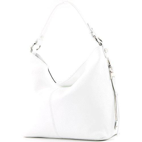 modamoda de - ital. Ledertasche Shopper Damentasche Bürotasche Schultertasche Leder T160 Weiß