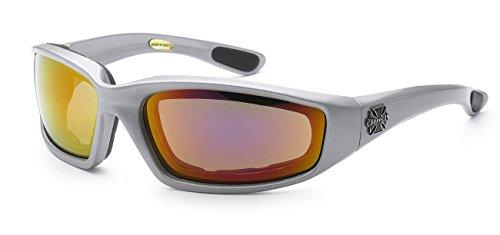 Moda Choppers Gangster Biker Schaumstoff gepolstert Matte Motorrad-Schutzbrille-Sonnenbrille 1 55 Mittel Silber Revo orange