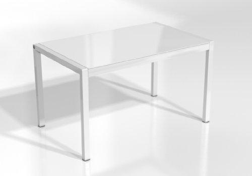 MESA EXTENSIBLE CONCEPT - Encimera Cristal Blanco Brillo/Patas Blanco, 120X80 cms