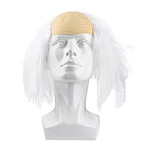 LONTG Halloween Kurze Perücke Glatze Kunsthaar in Karneval Kostümparty Cosplay Fasching Spielen Haarteile Unisex für Damen Frauen Wig lustig als Old Women Alte Dame Modellierung Schwarz Weiß