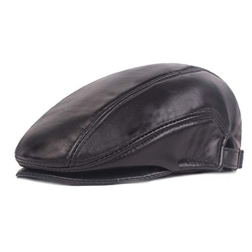 ERKEJI Flache Kappe,Herren Hut Leder warme Mütze im mittleren Alter vorwärts Wintermütze - Leder Herren Für Flache Mützen