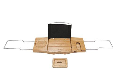 Monsuri – Badewannen-Ablage Buch iPad Tablet Handy Wein-Glas Halter | Bambus-Holz Badewannen-Auflage Verstellbar | Integrierter Handtuch-Halter Seifen-Schale Modern