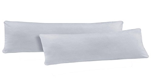 NatureMark Doppelpack Jersey Kissenbezug Gr. 40 x 145 cm für Seitenschläferkissen Kissenbezüge in 14, 100% Baumwolle (Silber/Hellgrau)