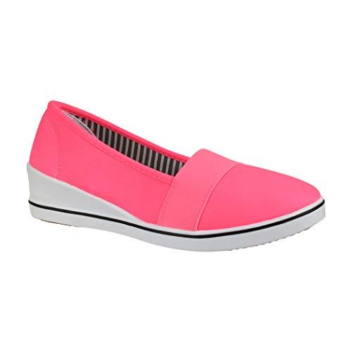 Elara Damen Pumps | Keilabsatz Wedges | Sportliche Slipper Ballerina | Chunkyrayan | 483-Y Pink-36 (Wedges Pink Für Schuhe Frauen)