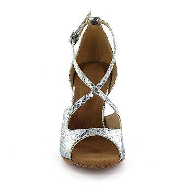 XIAMUO anpassbare Damen Tanzschuhe Latein Kunstleder Ferse Silber/Gold Silber
