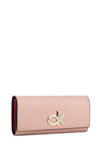 Calvin Klein Damen Re-lock Lrg Trifold Umhängetasche, Pink (Nude), 3.5x10x19 cm - Kleine Tri-fold