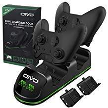 Oivo Xbox One Controller-Ladegerät, schnelle Dual-Ladestation mit LED-Band, Fernbedienungs-Dock - 2 wiederaufladbare Akkus enthalten (Xbox 360-controller Dual Charger)