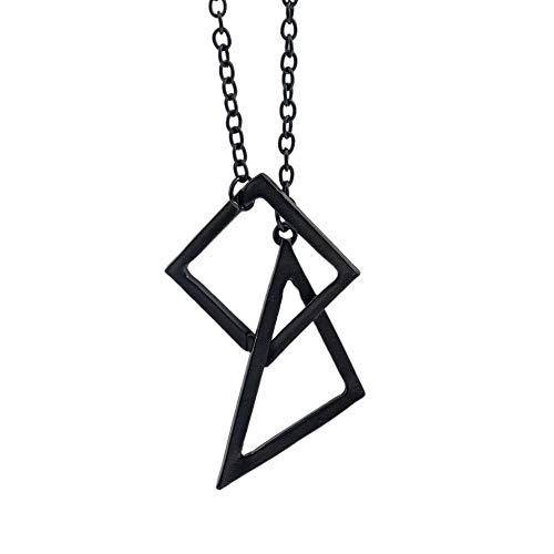 WYTDD Retro Wilde Flut-Marken-geometrische Form-Halsketten-Paar-Dreieck-Strickjackekette