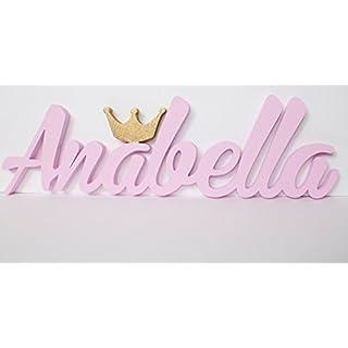 """MIA Namensschild """"Annabella"""" mit goldfarbener Krone,Kontaktieren Sie den Verkäufer über die Amazon-Nachricht, um den Namen und die Farbe anzugeben"""