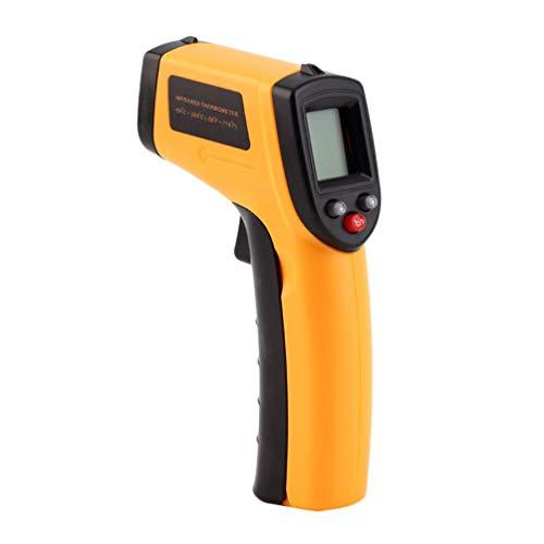 Infrarot Thermometer,-50°C~380°C Hochtemperatur Temperaturmessgerät mit LCD Weiße Beleuchtung Anzeige Digital laser thermometer (Gelb)