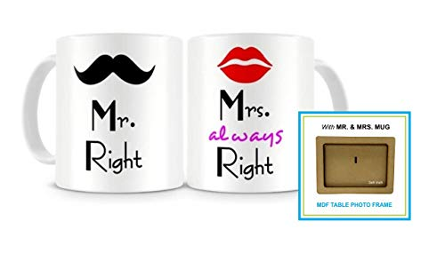Paper Plane Design Mr. & Mrs. Right Couples Ceramic Printed Coffee Mug ,Set Of 2