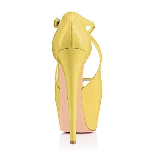 uBeauty Femme Sandales Plateforme Talons Escarpins Cross laçage Grande Taille Chaussures Open Toe vert clair