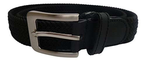 Streeze 32mm Stretch Belt Braided Elastic Webbed Belt with Silver Rectangular Buckle Sizes Small - 3XL