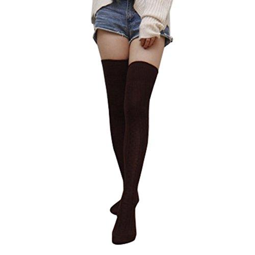 Stricken Kniestrümpfe Damen, DoraMe Frauen Kniehohe Strümpfe Langen Socken Baumwolle Beinwärmer Strümpfe Solide Stulpen (Kaffee, Ca. 90cm / 35,4