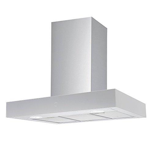 Vlano/RHEA 900 WH PLASMA/Block Dunstabzugshaube/Plasmafilter Umluft/Glas-Edelstahl/Invisible Touch/ECO LED / 90 cm / 65 dB