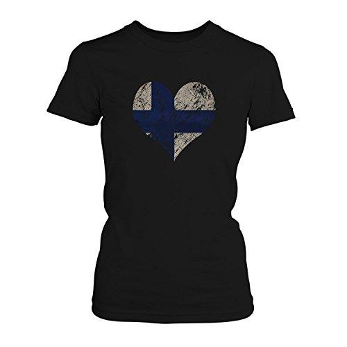 Fashionalarm Damen T-Shirt - I Love Finland   Fun Shirt Trikot mit Vintage Flagge Print für Fußball & Finnland Fans   Skandinavien   EM & WM, Farbe:schwarz;Größe:L