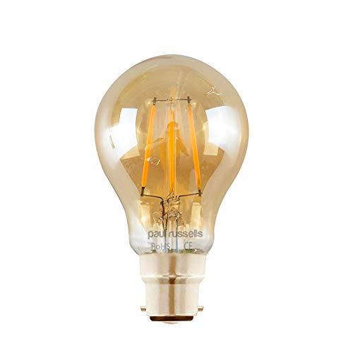 Paul Russells 2 Stück 6 W = 60 W GLS LED Filament Bernstein Glühbirne B22 BC Bajonettsockel 6 W Standard A60 360 Strahler 2200 K Extra Warmweiß 60 W Glühlampe -