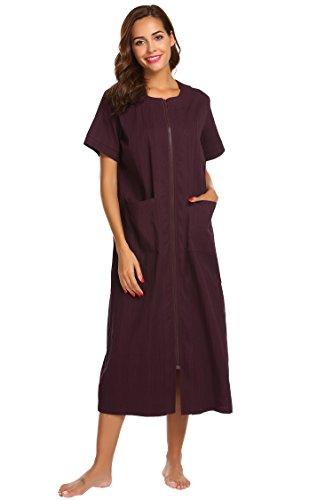 Brinol Damen Lang Nachthemd Reißverschluss Sleepshirt Kurzarm Morgenmantel - Mit Reißverschluss Damen Für Nachthemden
