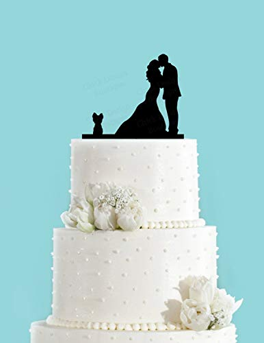 Cake Topper Couple Kissing With Yorkie Dog Wedding Acrylic Cake Toppers Choice Of Colours Available - Food Dog Yorkie