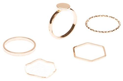 Happiness Boutique Damen Ring Set in Gold 5 Stapelringe | Band Ring Hexagon Ring Schlichtring mit Kreis Minimalist Schmucktrends nickelfrei