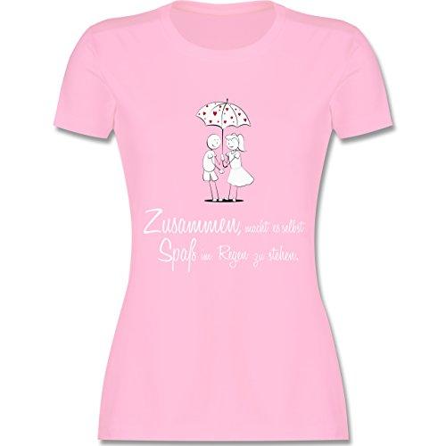 Romantisch - Zusammen - macht es Spaß im Regen zu stehen - tailliertes Premium T-Shirt mit Rundhalsausschnitt für Damen Rosa