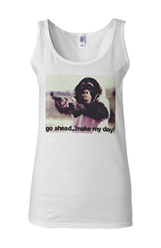 Monkey with Gun Make My Day Novelty White Femme Women Tricot de Corps Tank Top Vest **Blanc
