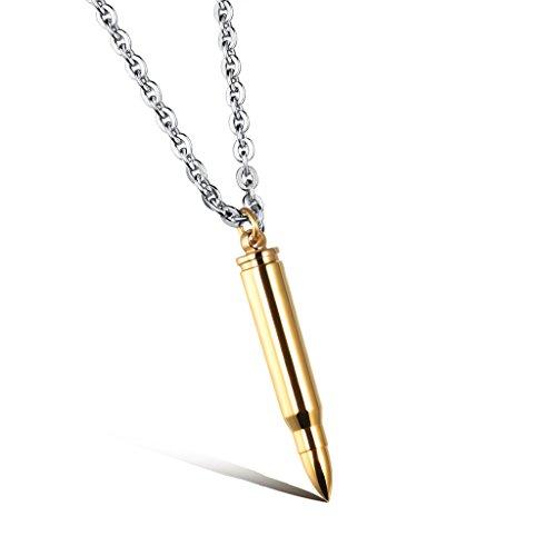 Jiayiqi Cool Garçon Bullet Cylindre En Acier Inoxydable Collier Pendentif No.3