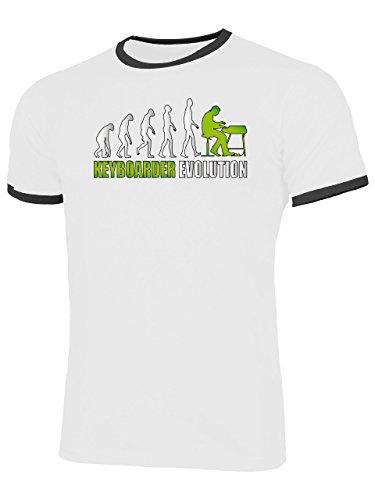 Keyboarder Evolution 4593 Herren Ringer T-Shirt (HR=Weiss-Schwarz/AD=Grün) Gr. M