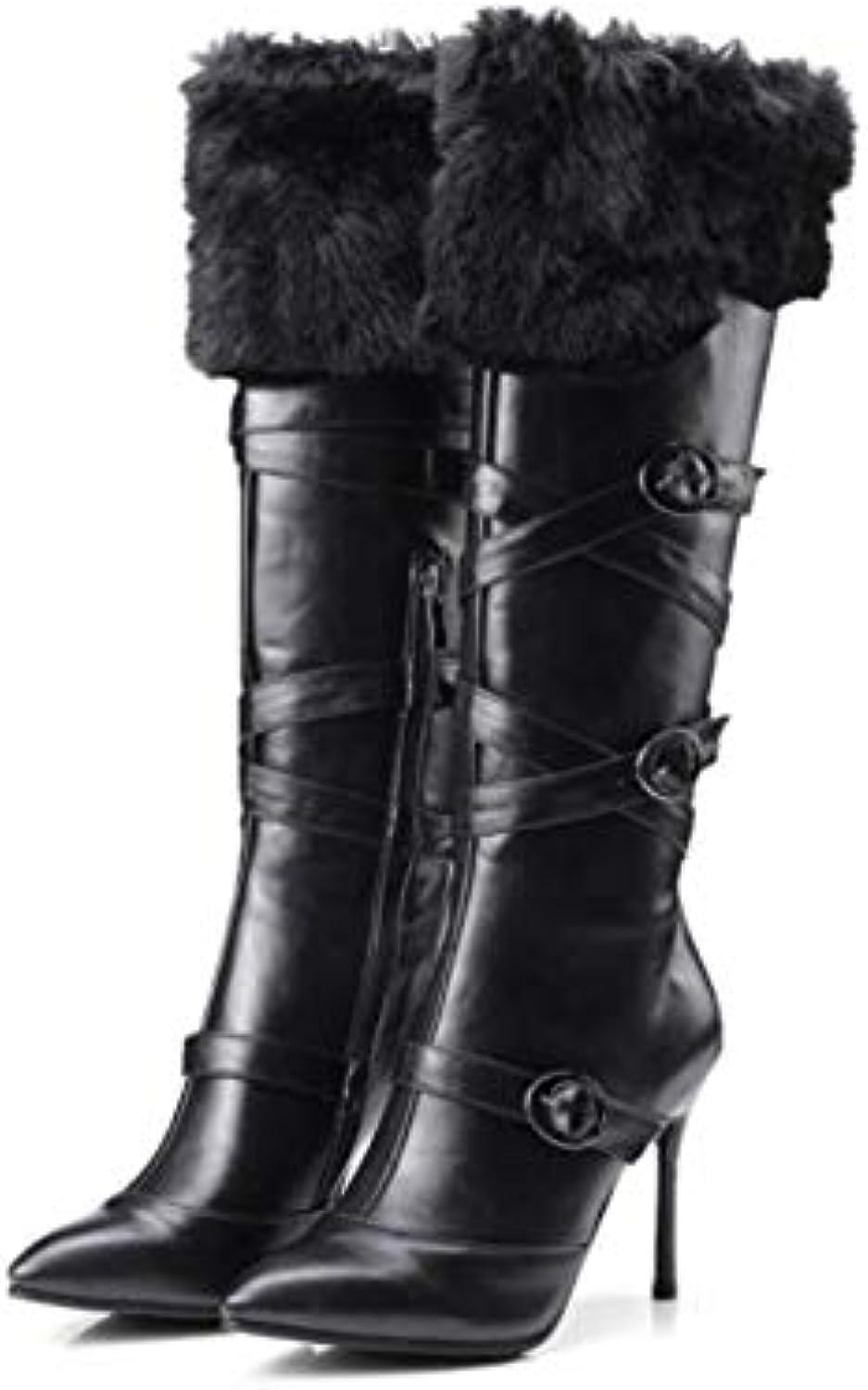 NVXUEZIX Femme Chaussures Polyuréthane Bout Hiver Automne Confort Bottes Talon Aiguille Bout Polyuréthane Pointu Boucle pour Blanc... 3a9ea4