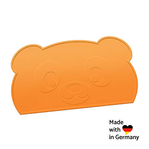 KOKOLIO® Little Panda - Das Tischset für Essanfänger, rutschfest, abwaschbar, Platzset aus Silikon, Platzdeckchen für Kinder, Tischunterlage für Baby, Malunterlage, Made in Germany (Orange) -